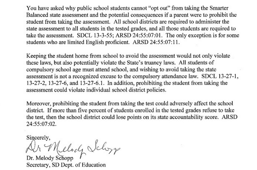 Assessment opt out information south dakotans against for Truancy letter template