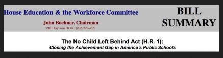 NCLB 2001 bill summary
